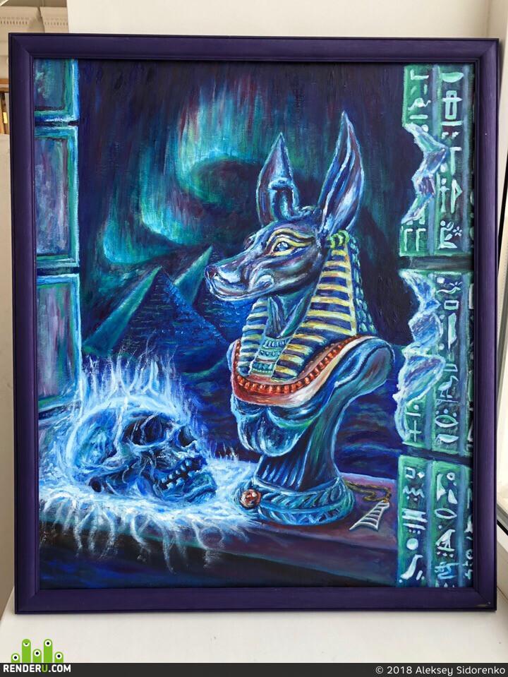 череп, египет, анубис, бог, пирамиды, Натюрморт