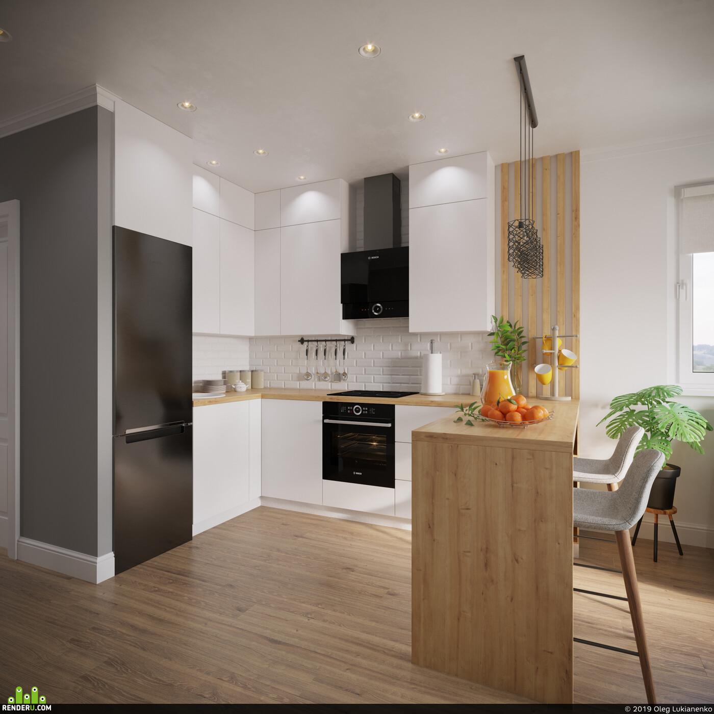 гостиная, дизайнгостиной, кухня, светлая кухня
