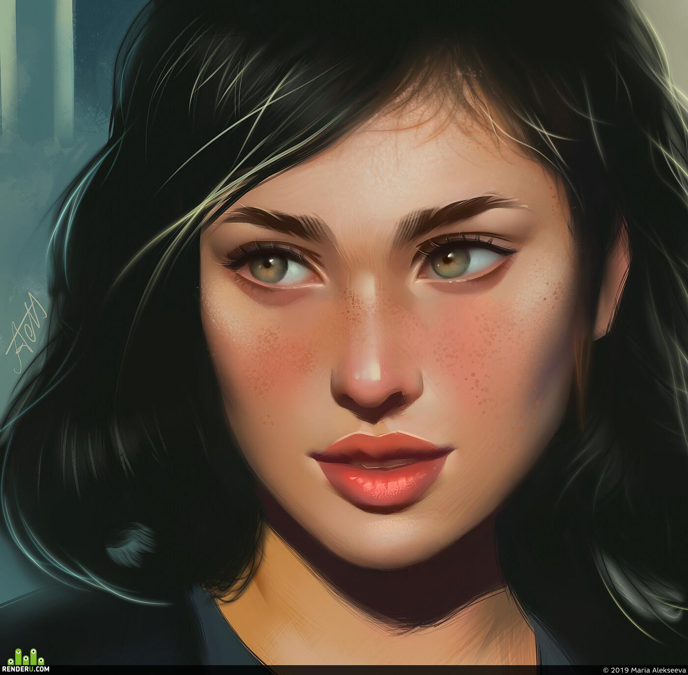 портрет, девушка, цифровой