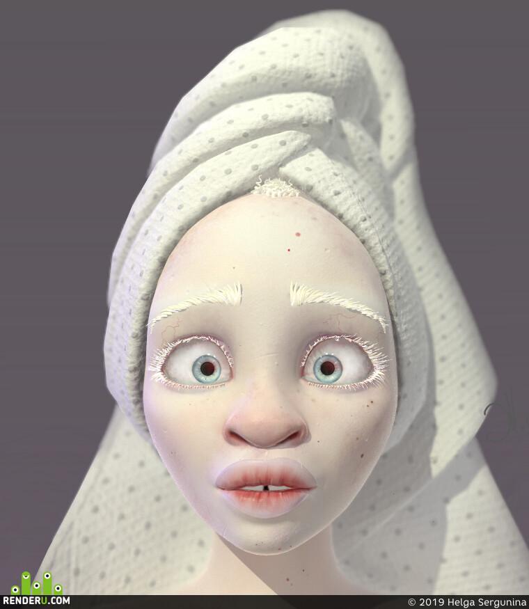 character, design_character, 3d character, albino, ZBrush, substance painter, Персонаж, дизайн персонажа, альбинос