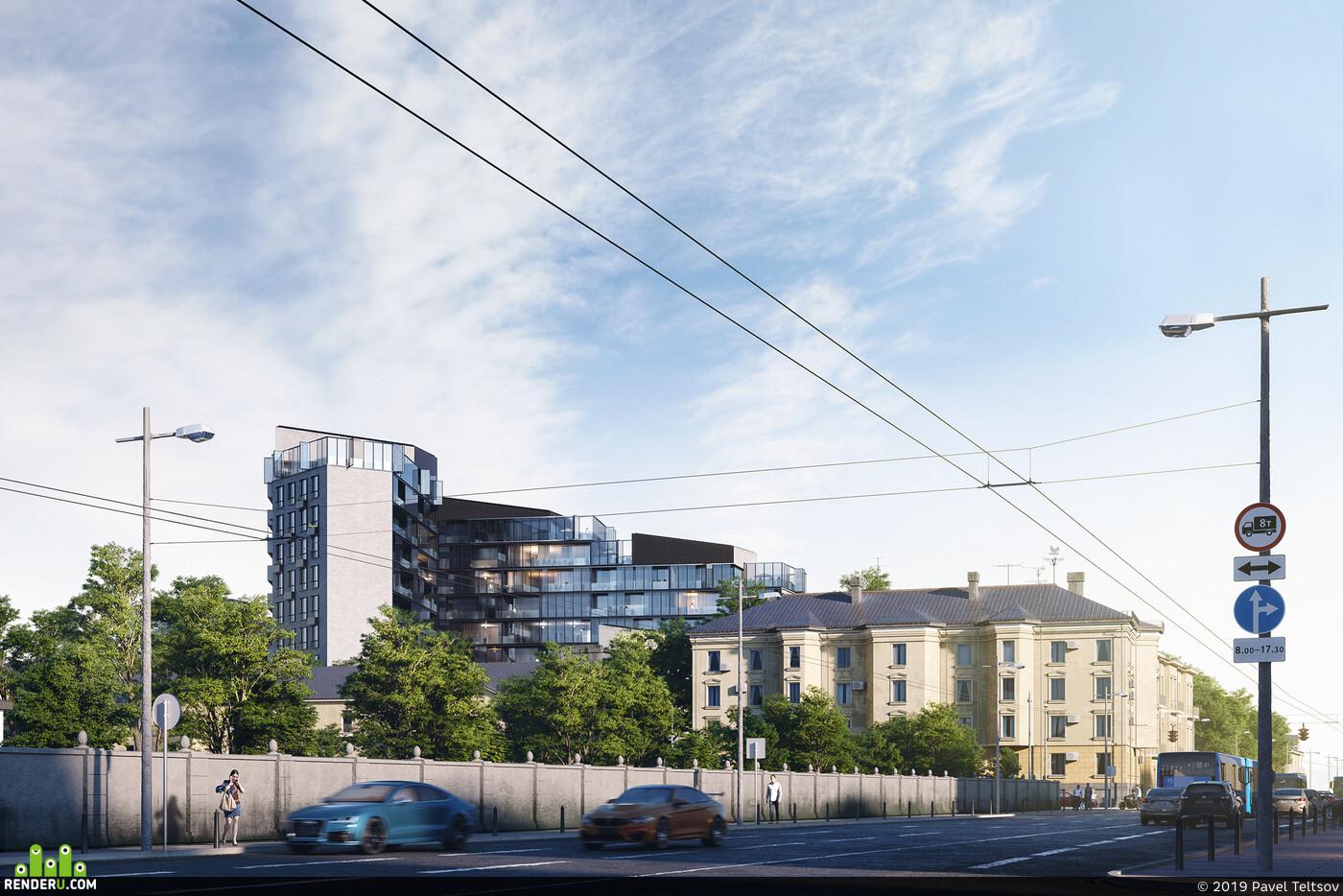 3ds Max, Corona Renderer, Exterior, architecture, 3d, apartments