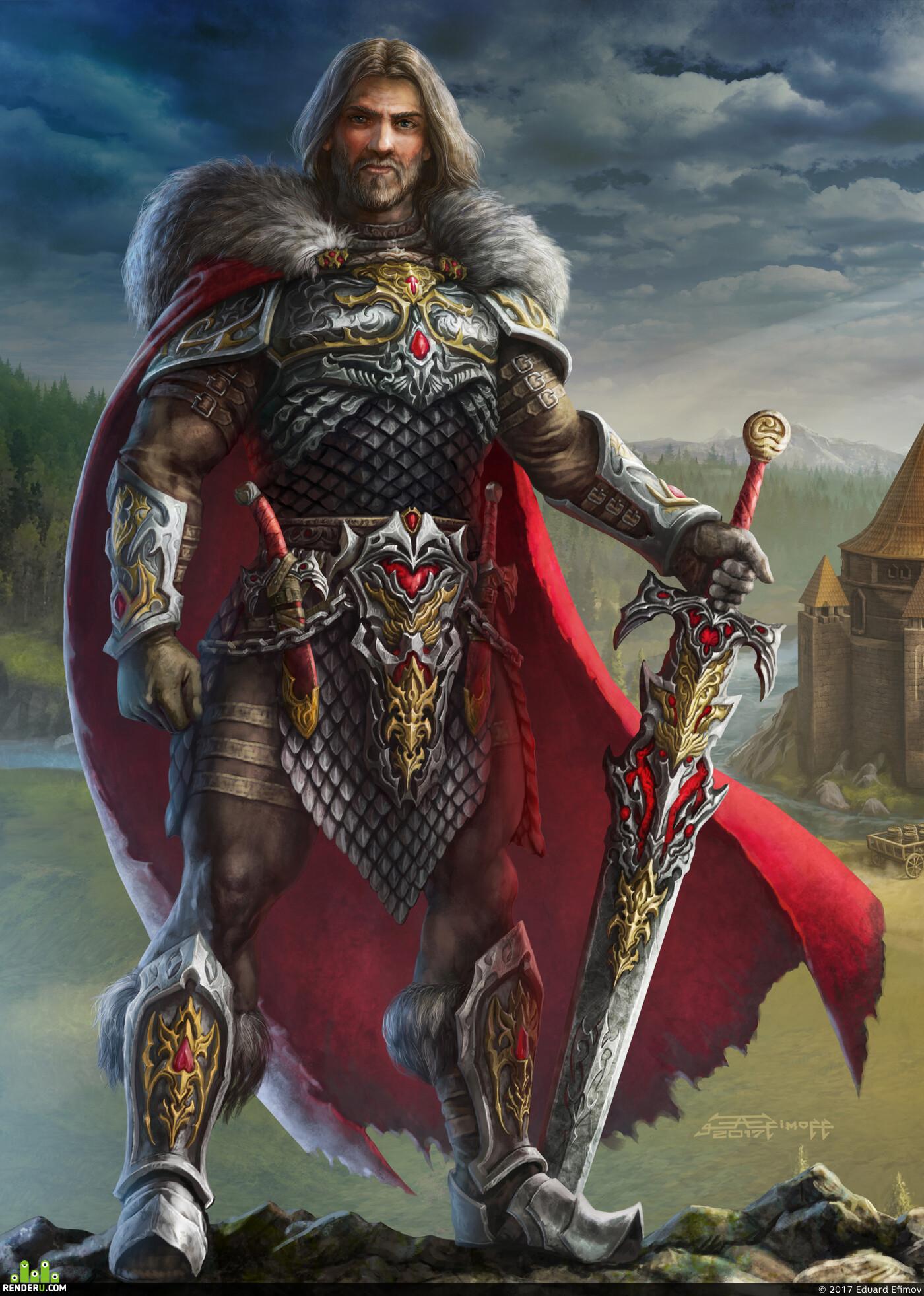 защитник, замок, хранитель, страж, жизнь, доспехи, иллюстрация, арт, фэнтази
