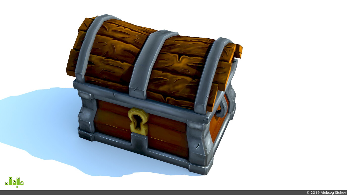 handpaint, lowpoly, gameart, Game-Art, game low poly, gameartist, 3ds max, 3dcoat, premium chest, texture paint