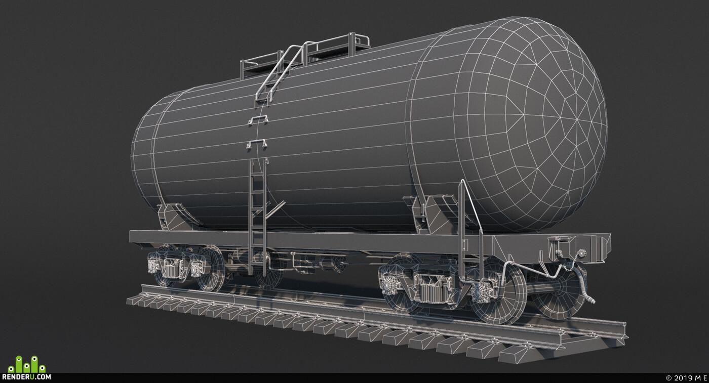 Вагин, цистерна, нефть, тележка 18-100, железная дорога