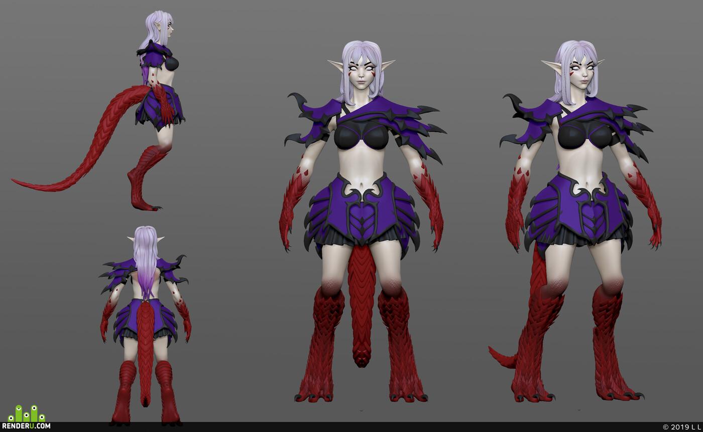 ZBrush, zbrush 2018, zbrushsculpt, girl, girl warrior, dragongirl, Unreal Engine, Maya, дракон, девушка