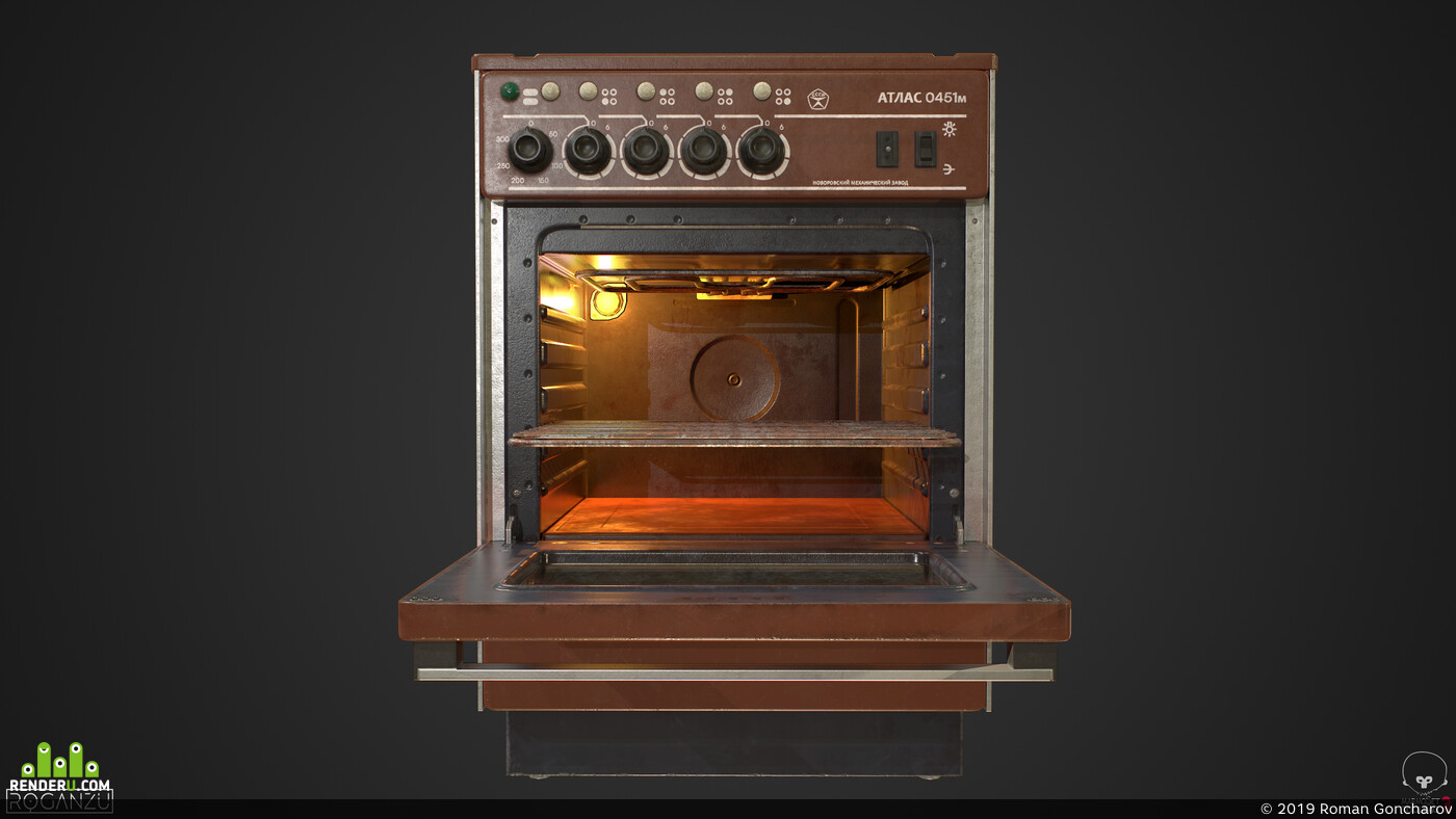 Soviet, USSR, stove, electric, lowpoly, Game-ready