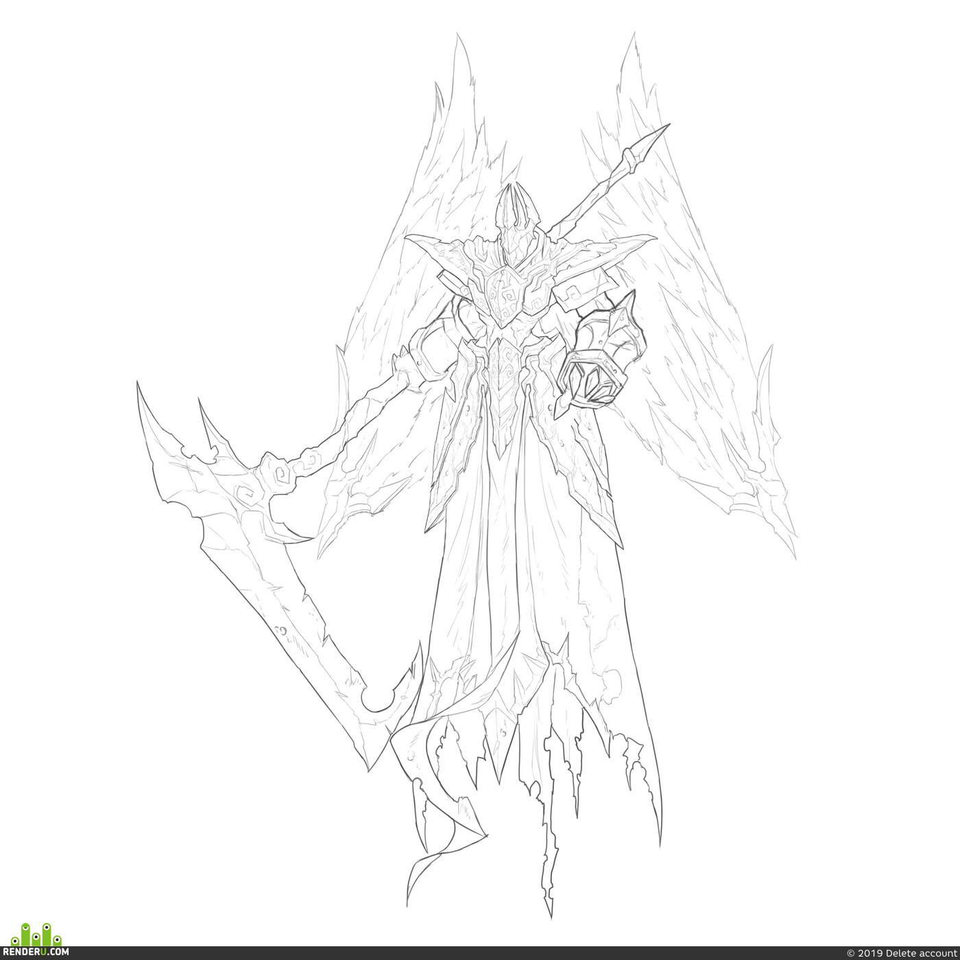 art, archangel, warior, sword