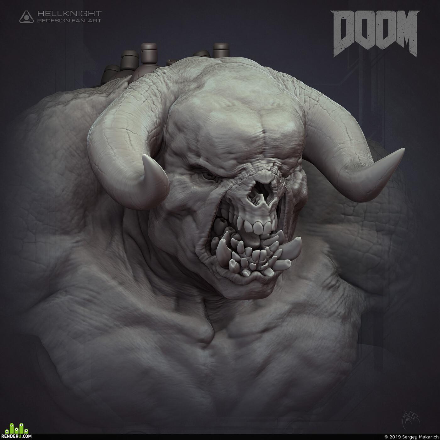 fanart, gameart, demon, creature, monster, hellknight, zbrushsculpt, digital sculpture, 3d sculpt, doom