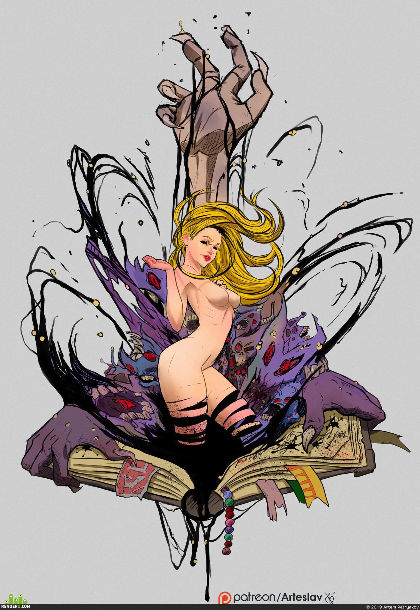 статуя, тату, уличный, фирменный стиль, девушка, блондинка, Жуть, зло, крипота, когти
