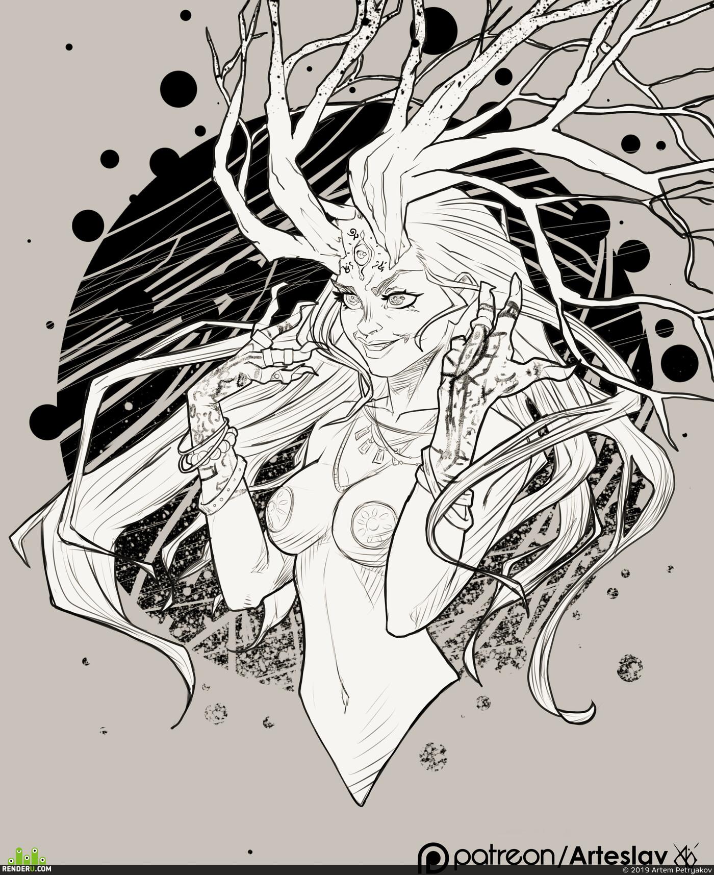 ведьма, дриада, рога, дерево, современный стиль, фирменный стиль