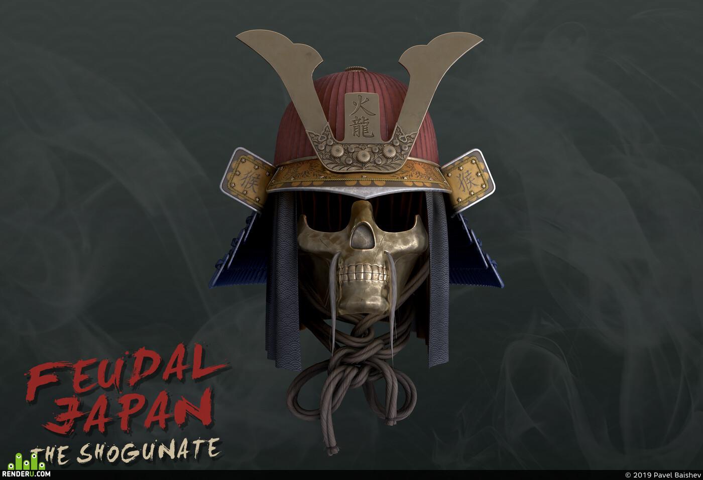 самурай, шлем, Япония, сегун