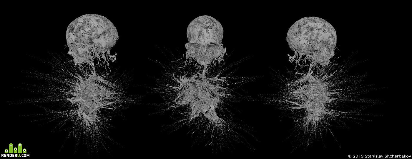 eyesoflamia, 3dillustration, RedShift3D, Maya, rendering, Horror skull