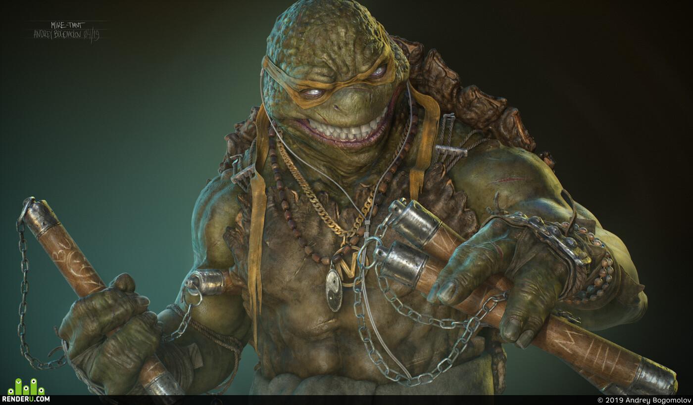 3d, ZBrush, sculpting, character, tmnt, michelangelo, ninja turtle, creature, design_character