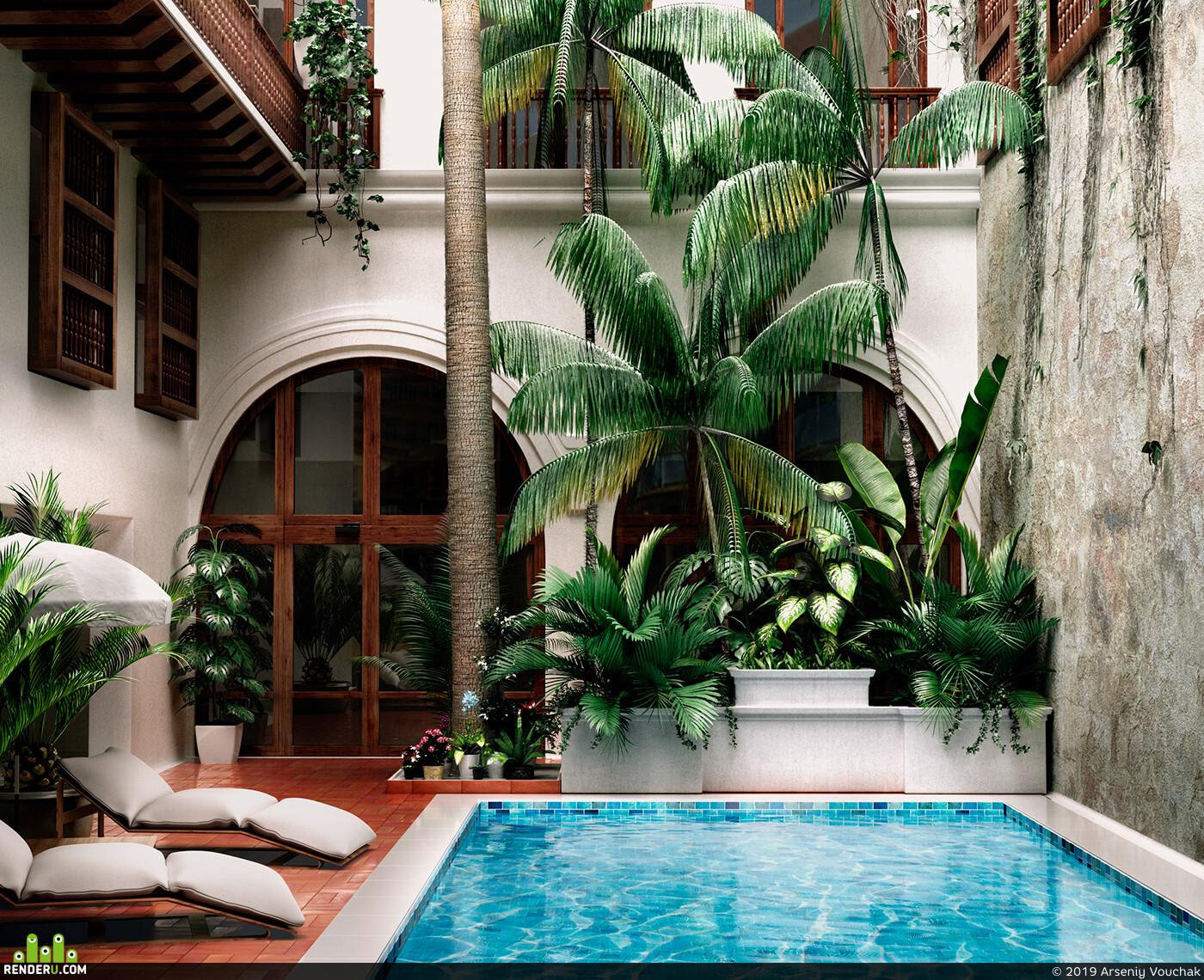 3d, visualization, render, art, interior, Exterior, Nature, pool, corona, realistic