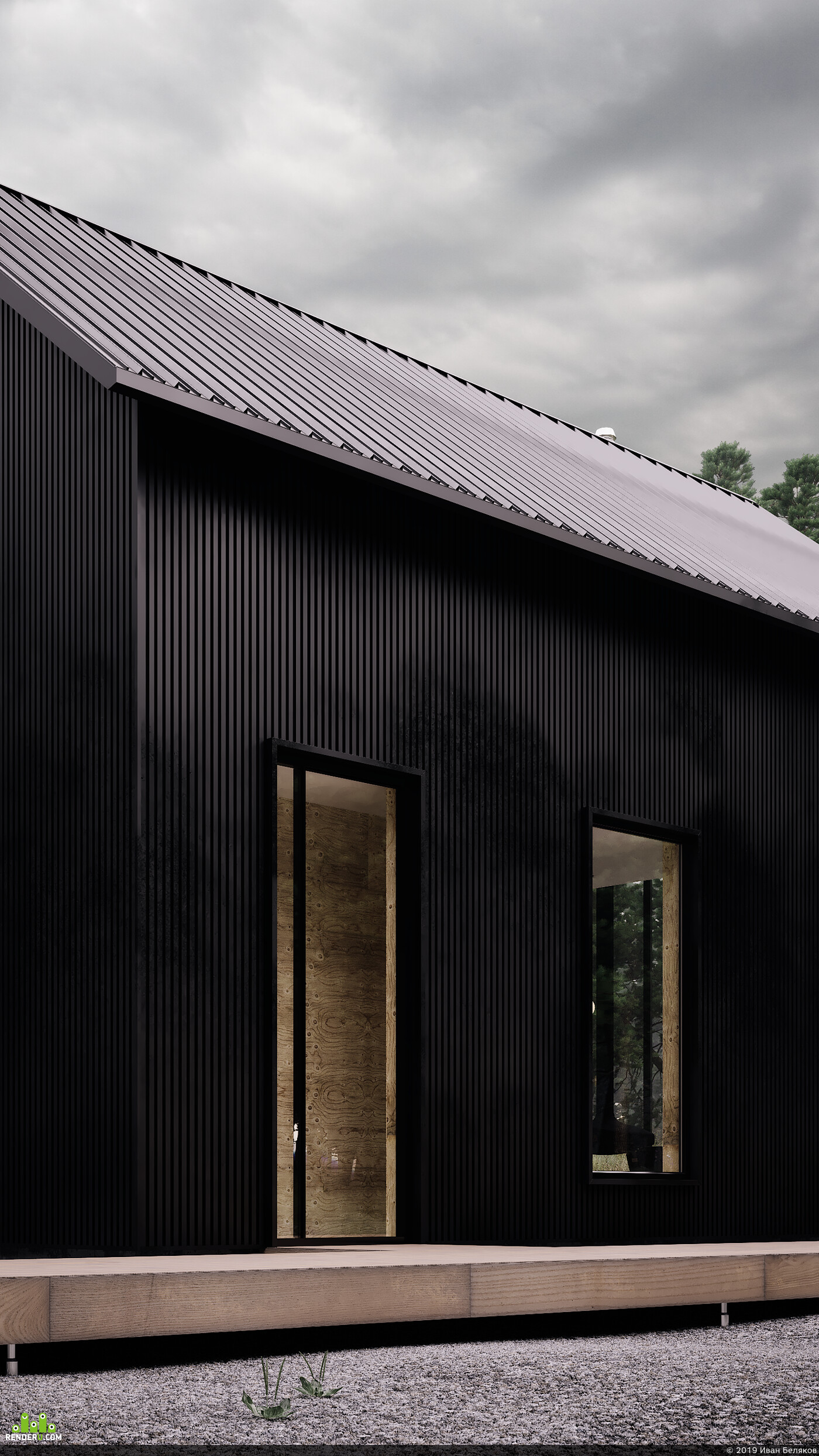 townhouse, architecture, forest, black