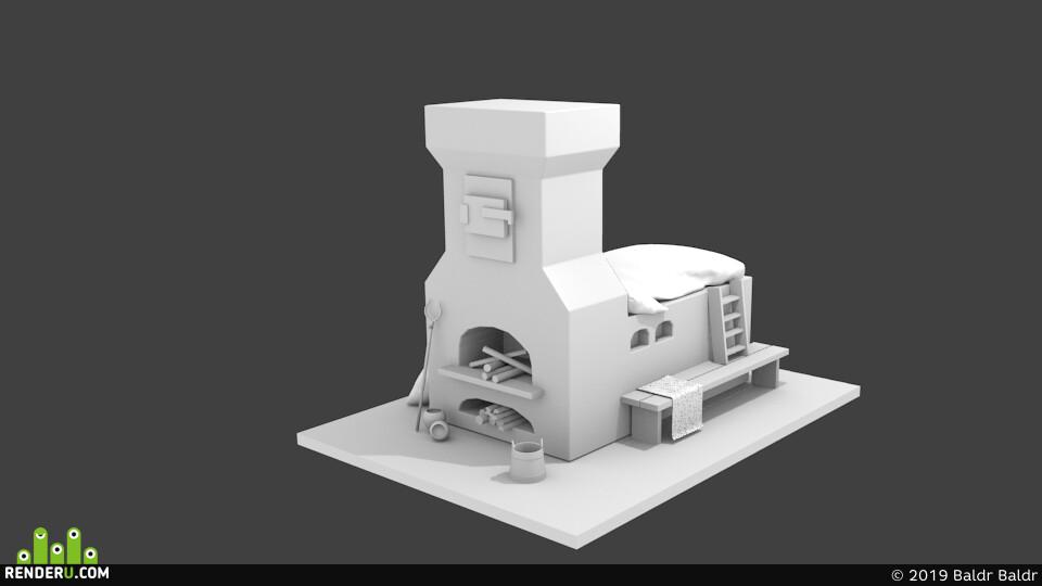 русская печка, печь, интерьер, одеяло
