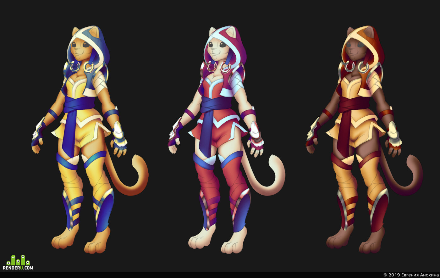 Кошка, монах, дизайн персонажа