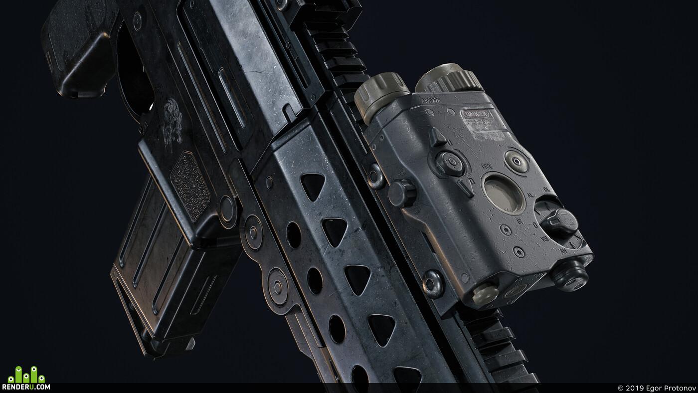 3d, gun, Sniper rifle, FN M29C, Blender, Blender 3D, Game-ready, game asset, gamedevelopment