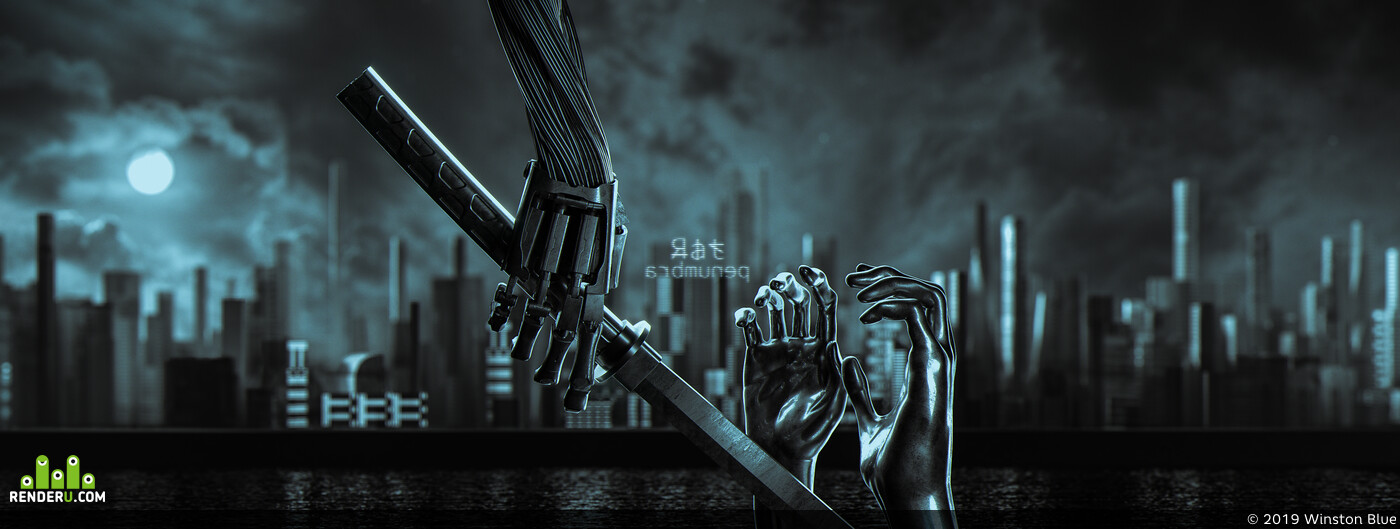 sword, katana, hand, robot, future, hi-tech, city