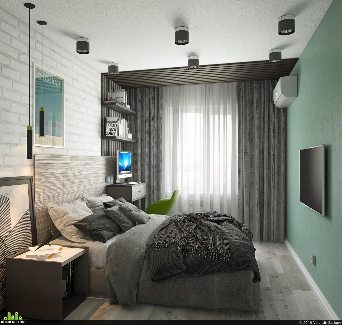 Визуализация, интерьер, визуализация интерьера, дизайн, Дизайн Проект, дизайн интерьера, Спальня, дизайн спальни, интерьер спальни, кровать