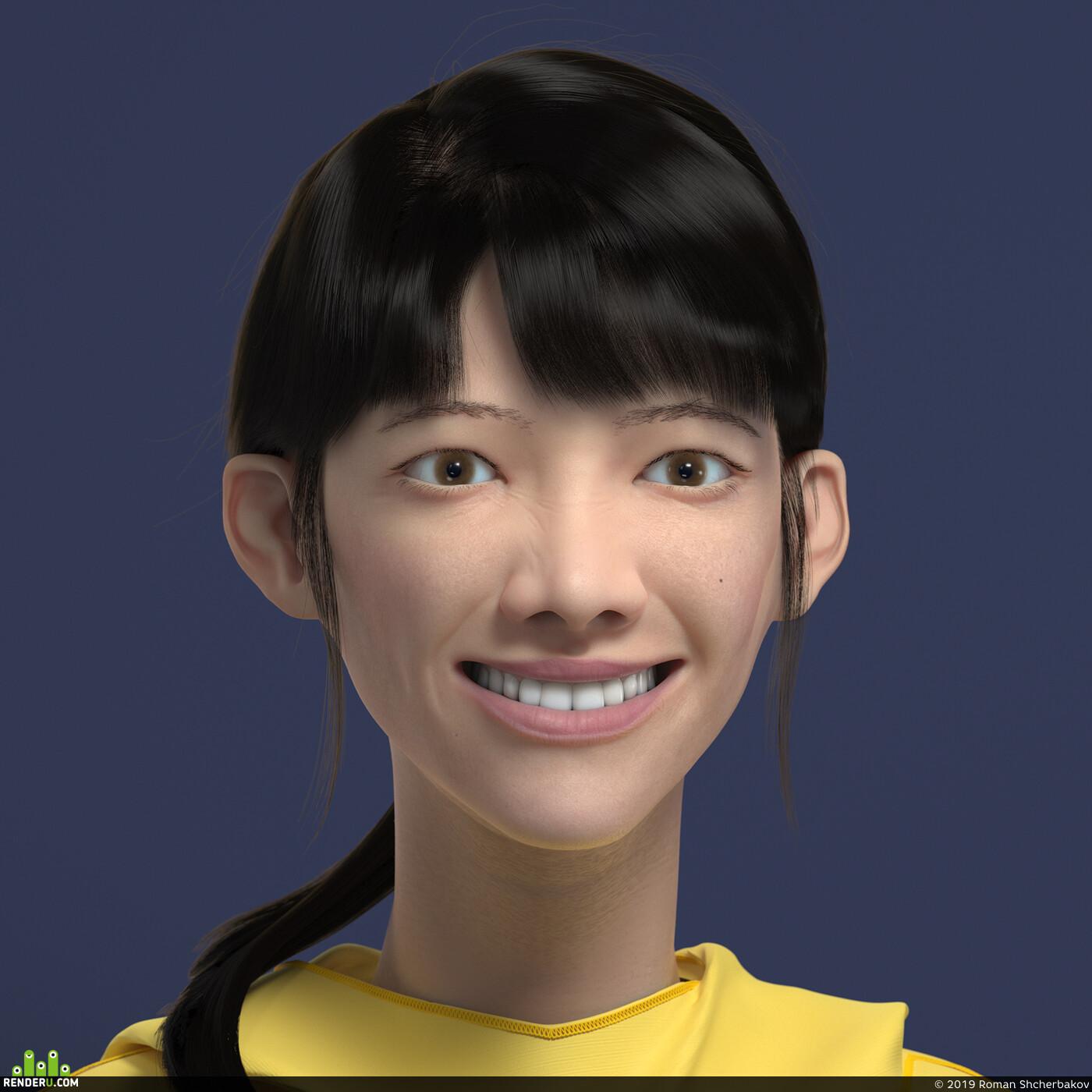 girl, asian, sculpt, Vray, ZBrush, smile, Portrait, 3d portrait, девушка, азиатка