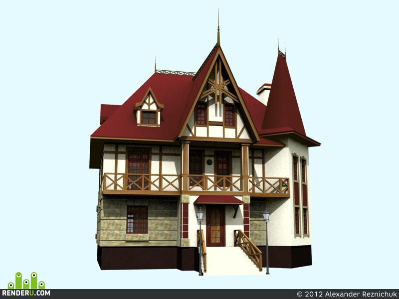 Визуализация экстерьеров, Загородный дом