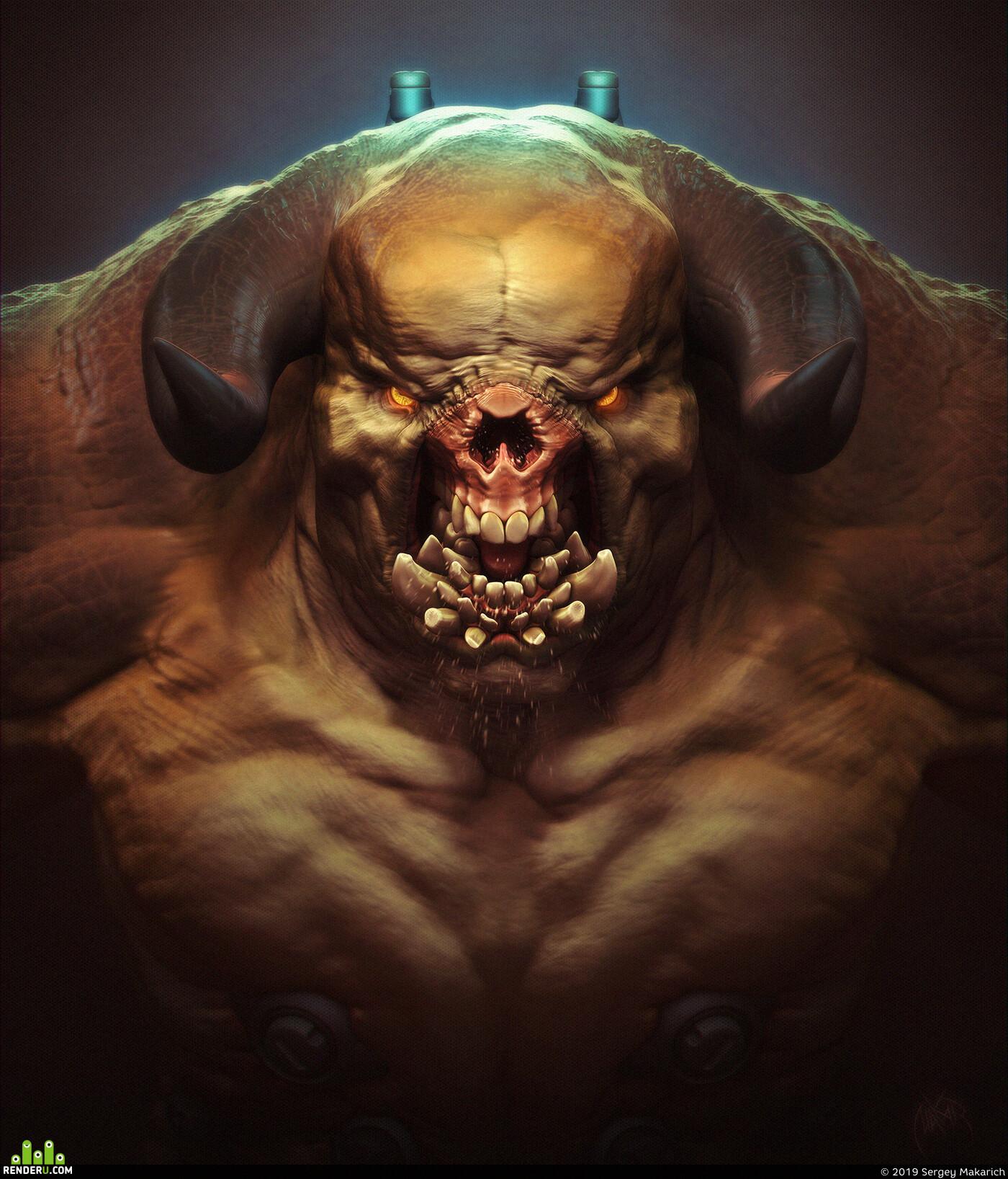 doom, fanart, hellknight, demon, creature