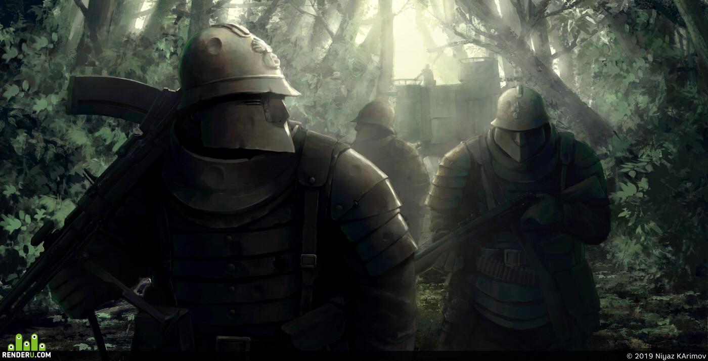 солдаты, Концепт-арт, концепт персонажа, иллюстрация, война, первая мировая война
