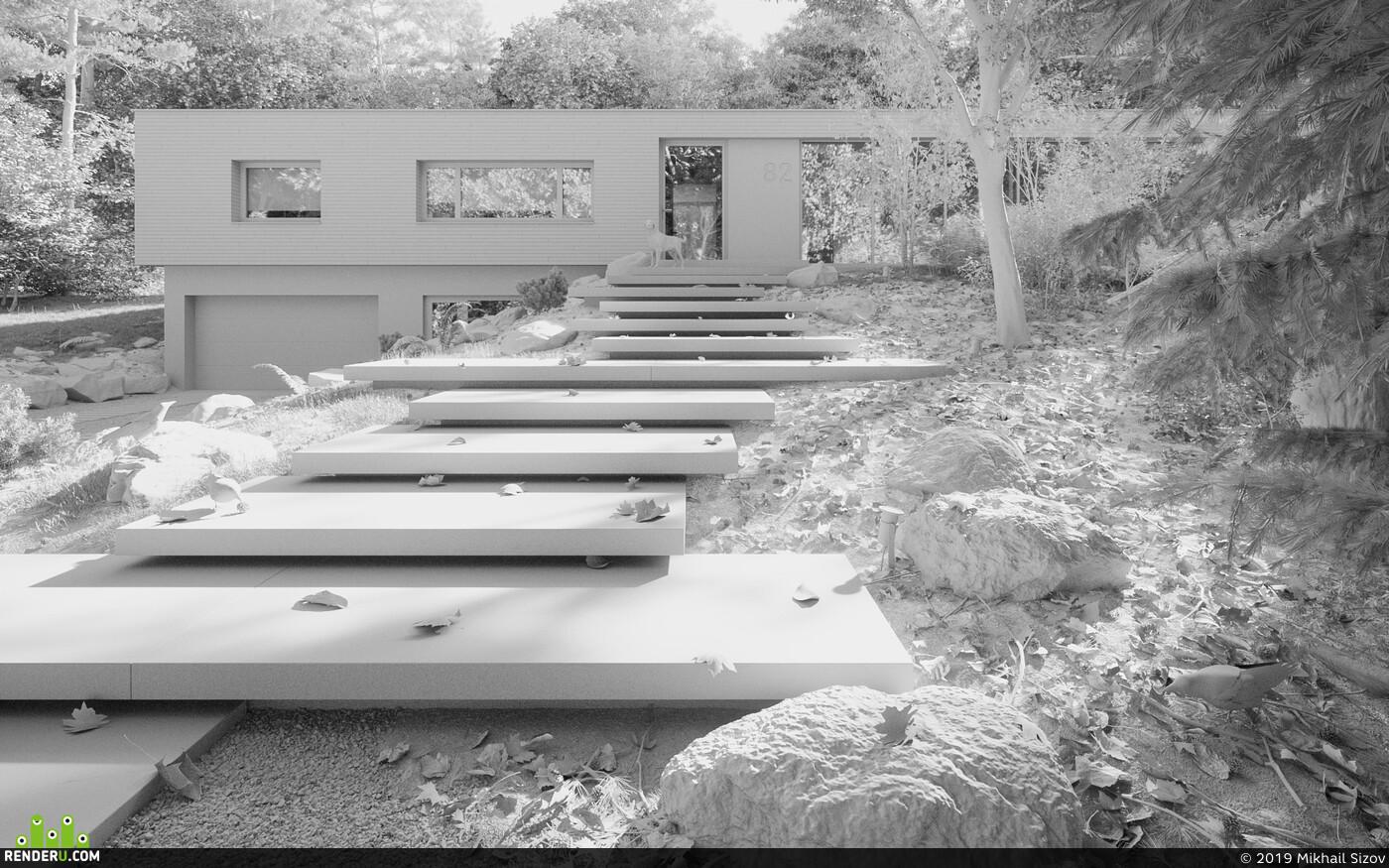 Exterior, 3d exterior, Exterior 3d visualization Corona Renderer corona 1.7 coronarenderer, bathhouse. bath of timber. glued beam. Exterior. 3D visualization. architectural visualization. Visualization.