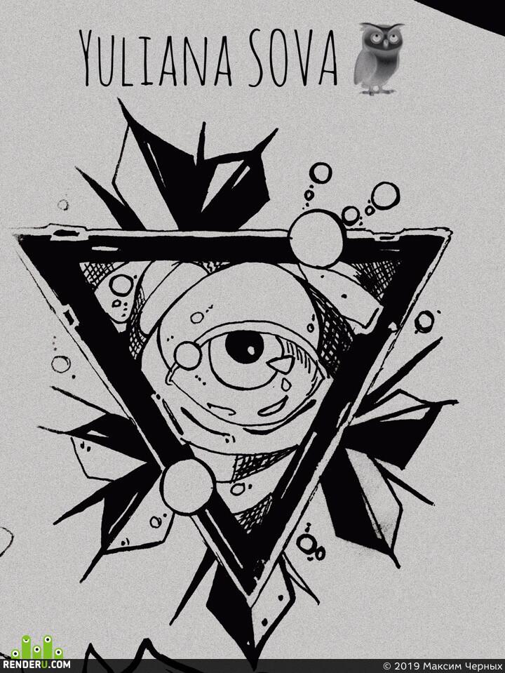 кристал, геометрия, глаза, треугольник, 3д, рендер, скетч, синема 4д, редшифт