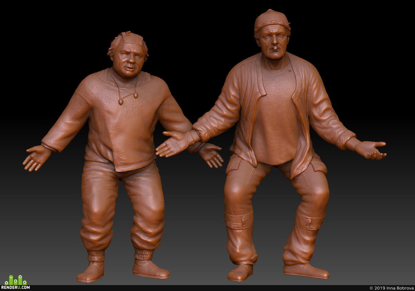 3dprint, ZBrush, stl, 3d_modeling, 3d_sculpture, 3d_character, 3д скульптура, Леонов, 3д скульптура Леонова, 3д скульптура Яковлева