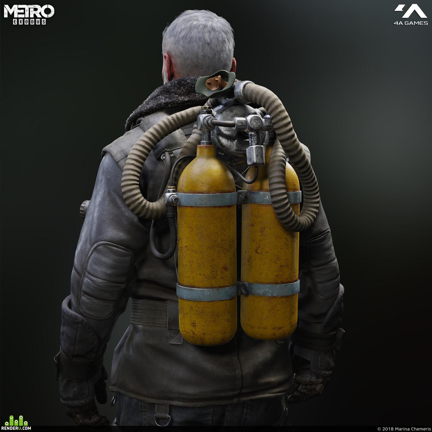 3d, Characters, in-game, hazard, rubber suit, miller, Metro exodus