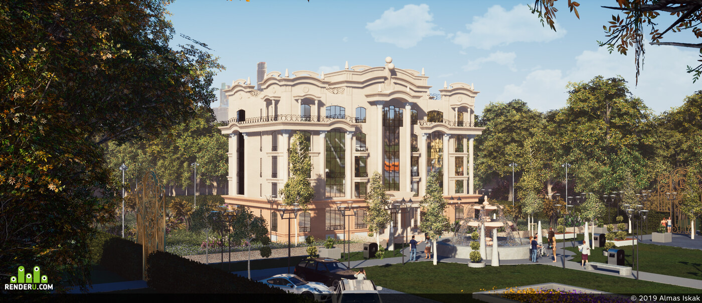 Exterior architecture, visualisation, Buildings, classic architectute, архитектура, визуализация
