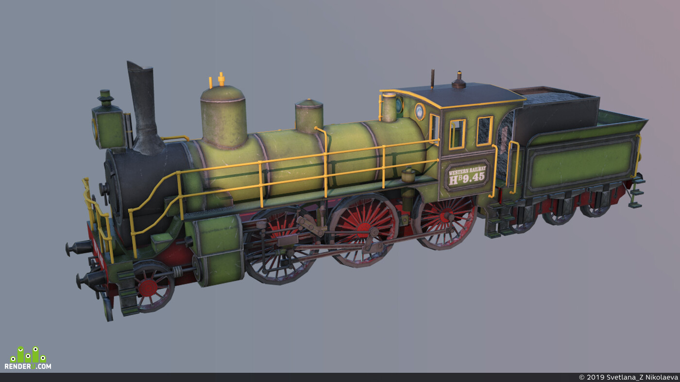 train, game low poly
