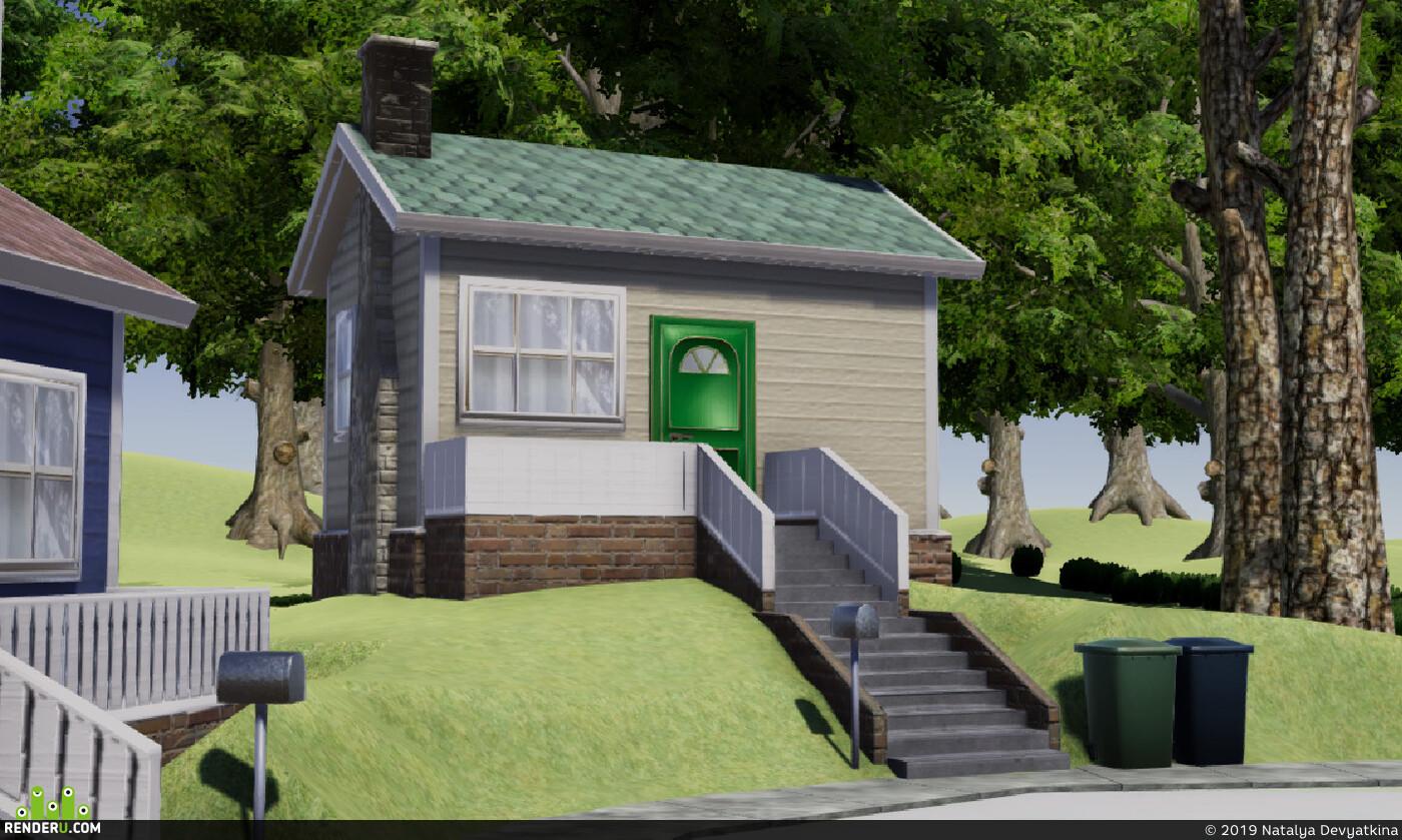 3д окружение, Environments, Blender, substance painter, дома, улица