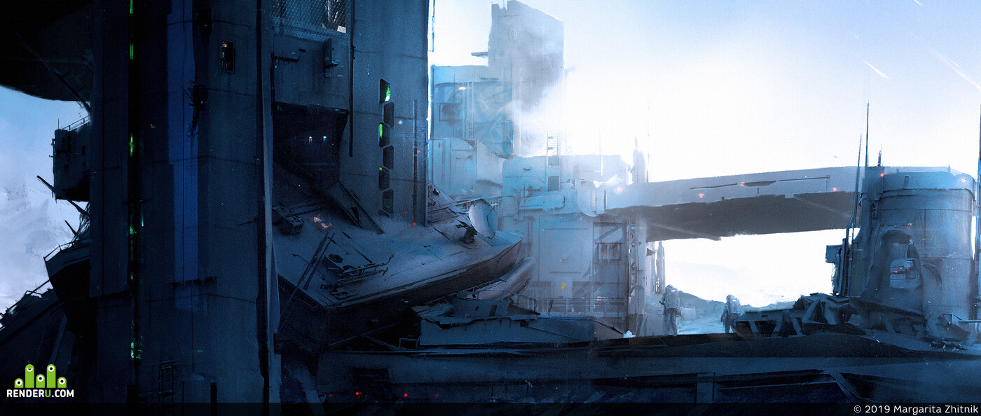 sci-fi, Concept Art, environment, matte  painting