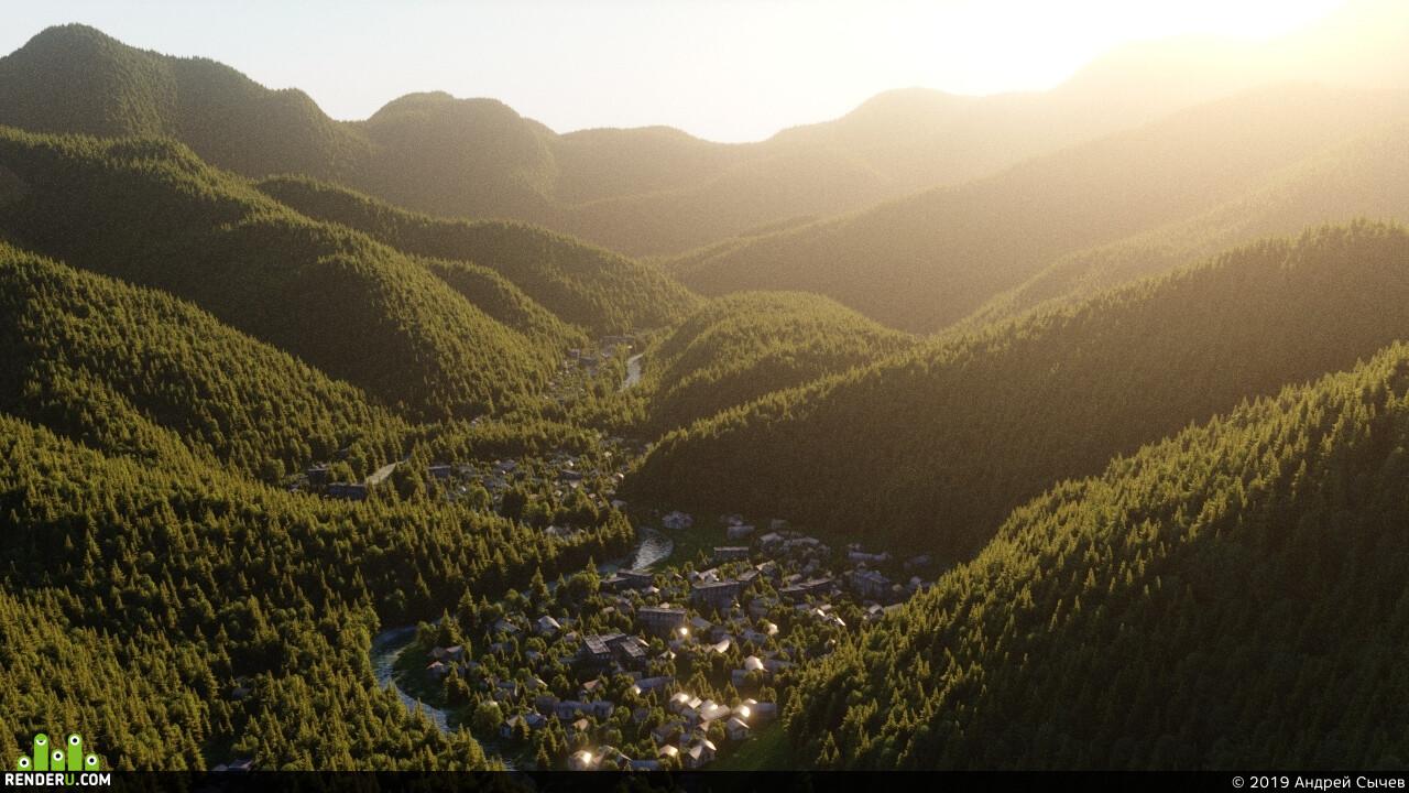 Город, городок, боржоми, borjomi, грузия, лес