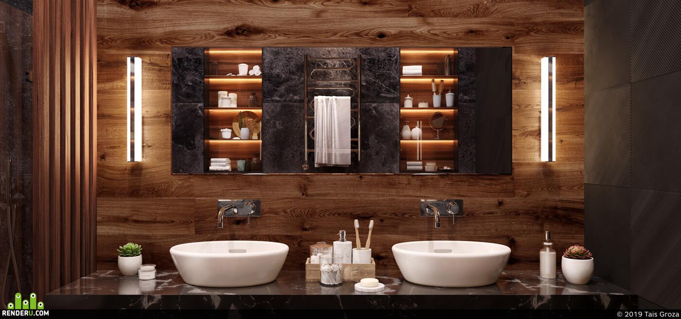 3Dsmax, Corona Renderer, Adobe Photoshop, Ванная, санузел, дизайн интерьера, интерьер
