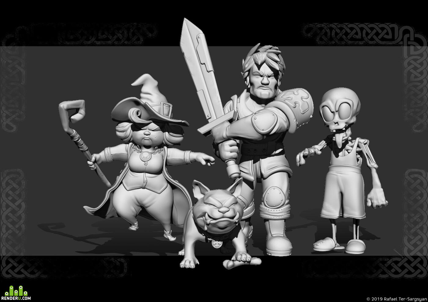 ZBrush, Персонажи, стилизованные, модели, рыцарь, ведьма, собака, Скелет, Зомби