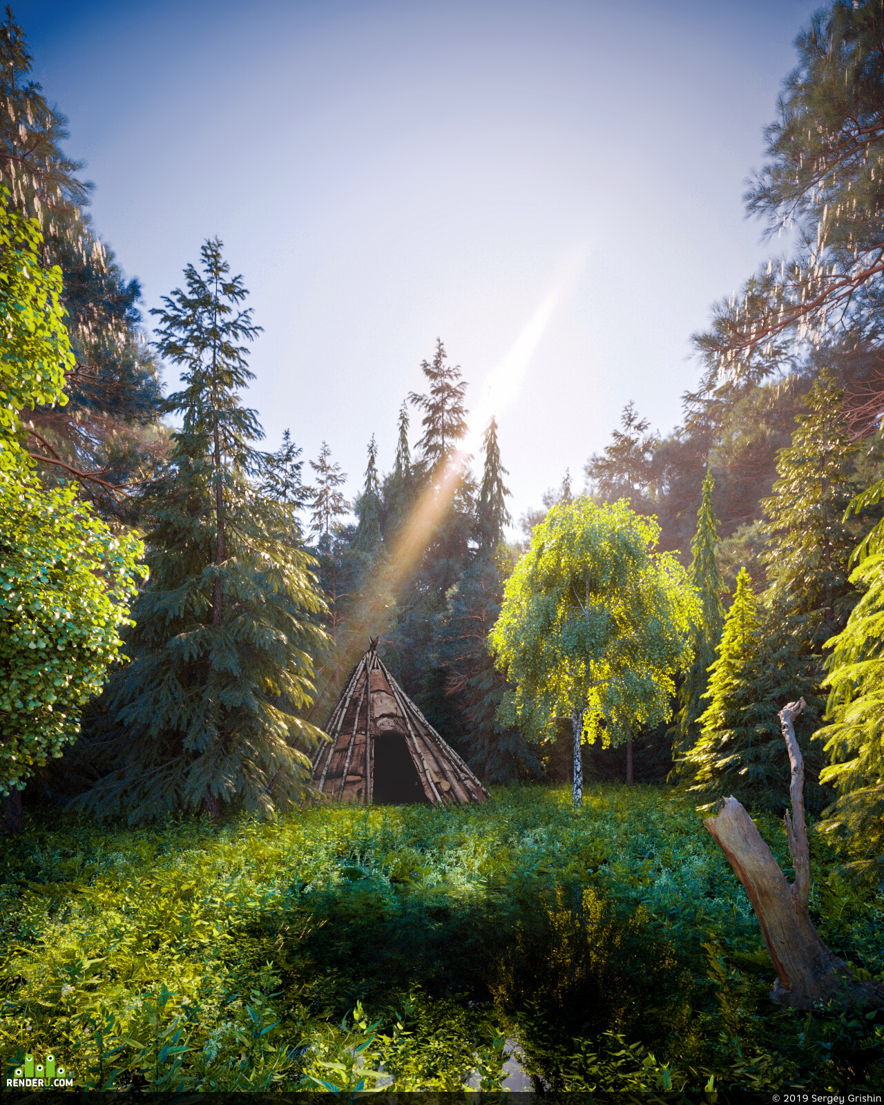 Пейзаж, 3d, лето, Природа, лес, озеро, пруд, вода, отражения, солнце