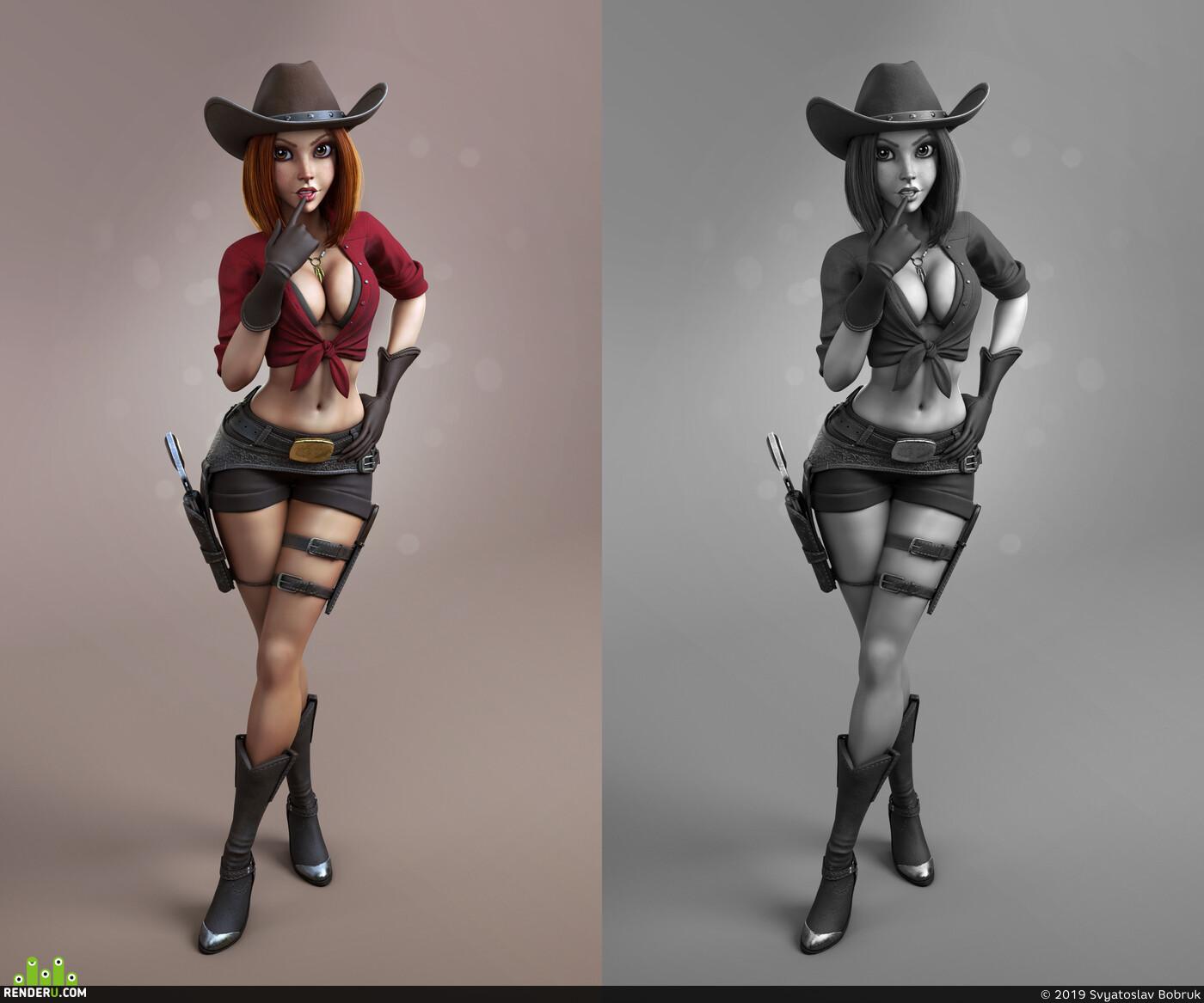 stylized, stylizedart, Cartoon, cartooncharacter, cgi, cowgirl, 3dcharacter