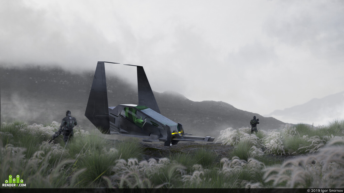 sci-fi, shuttle, concept, Transport & Vehicles