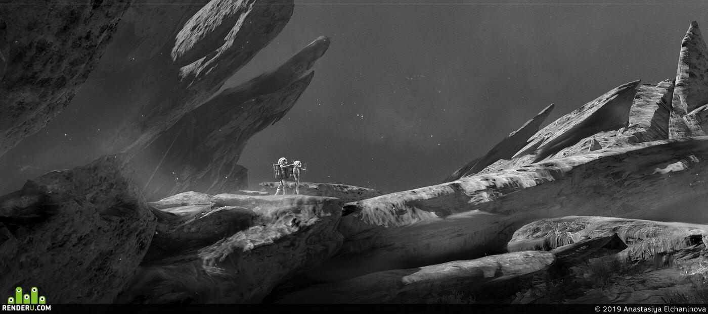 Космос, дизайн окружения, астронавт, скалы, Природа