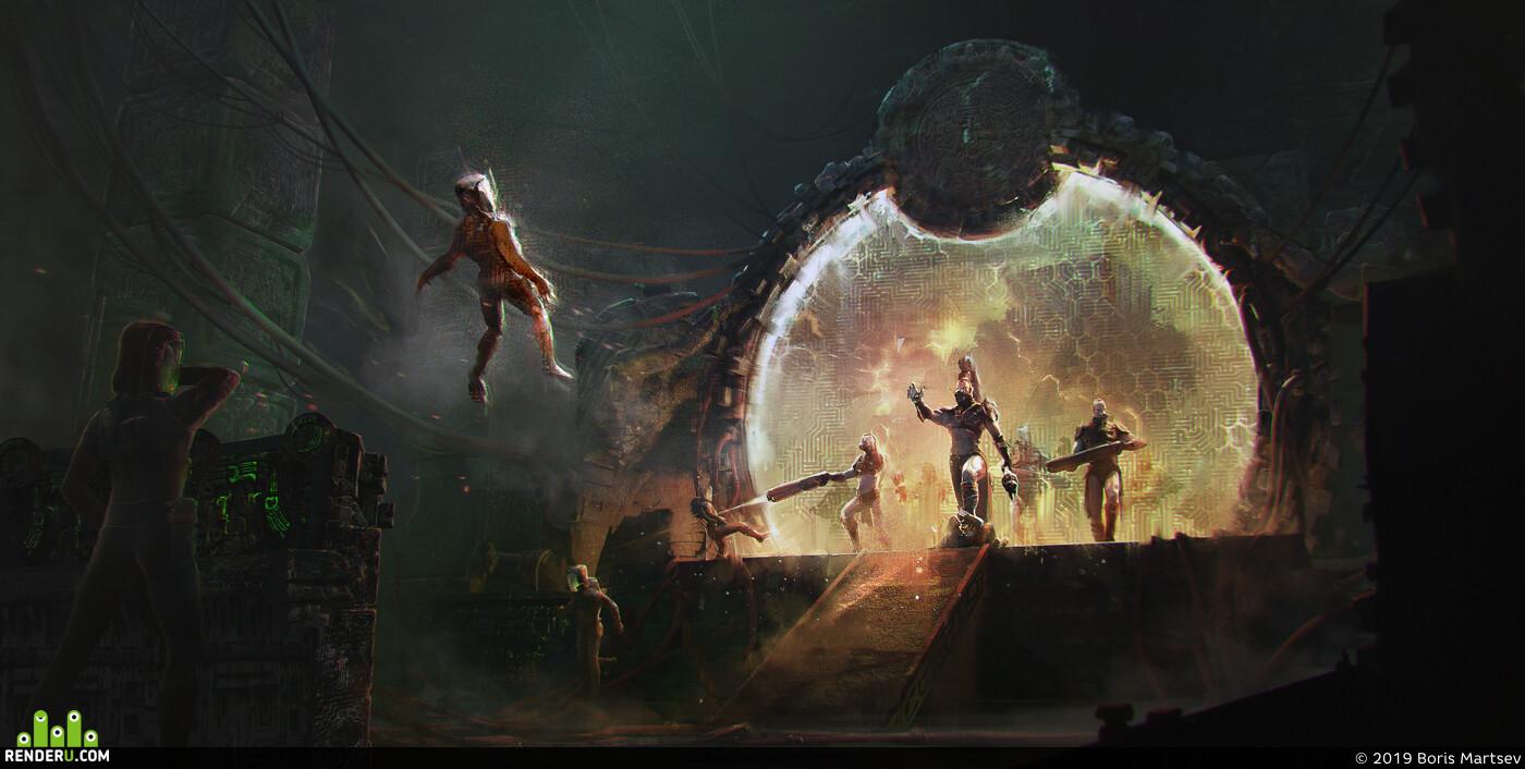 врата, инопланетное вторжение, Концепт Арт, ученый, воины