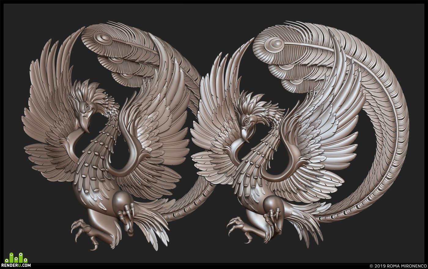 птица феникс рельеф