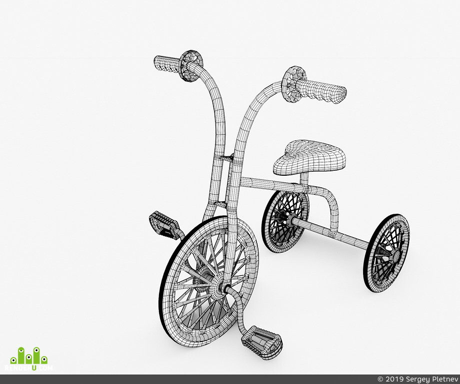 b3d, Blender, детскийвелосипед, Велосипед, children bicycle, bicycle, trcycle