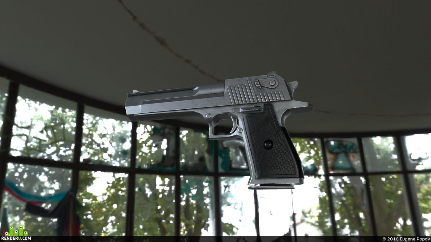 3d, Maya, Weapons, gun, game, Game-ready, game low poly, game asset