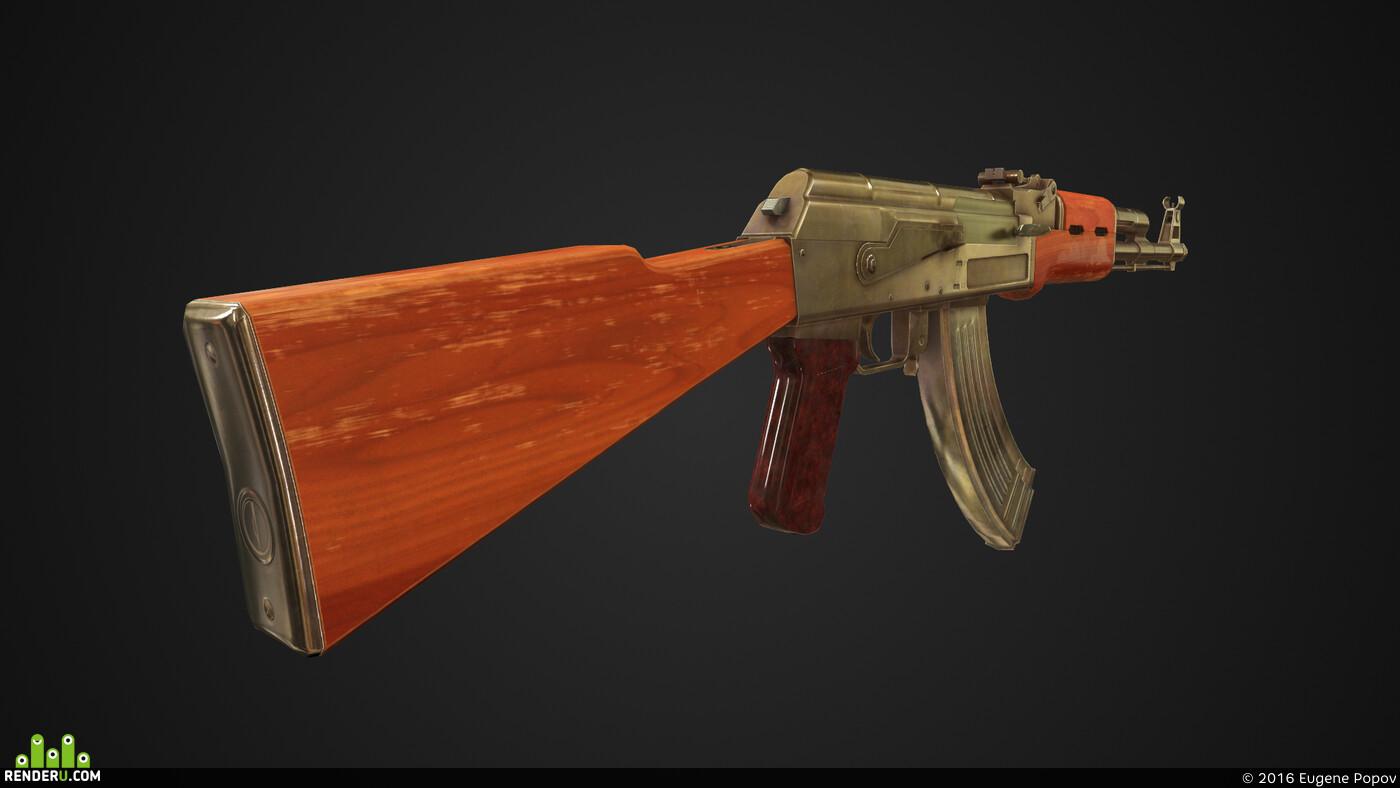 3d, Maya, AK-47, Weapons, uvlayout, substance painter, marmoset, marmoset toolbag