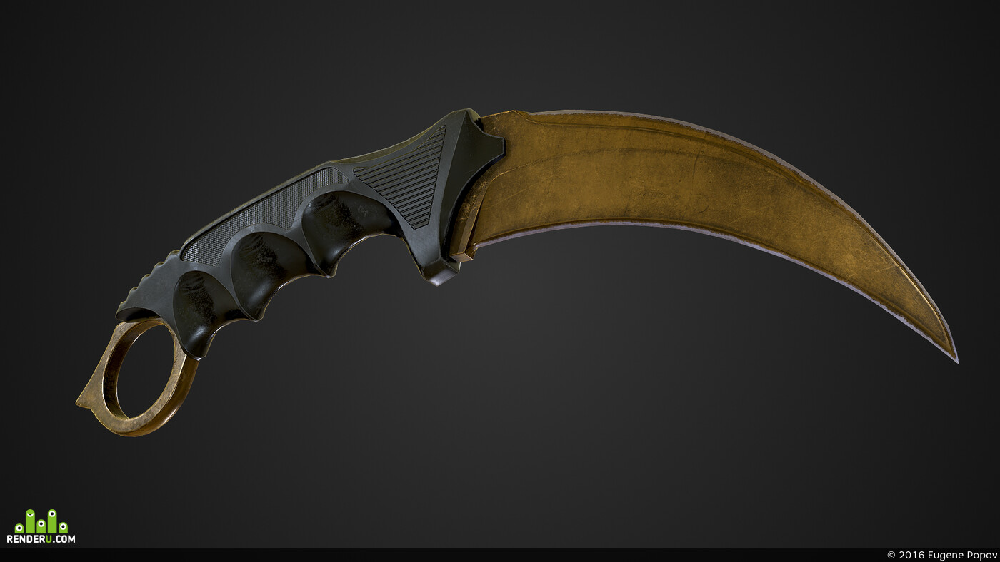 3d, Maya, Autodesk Maya, kerambit, gamedev, game ready, Game Low-poly