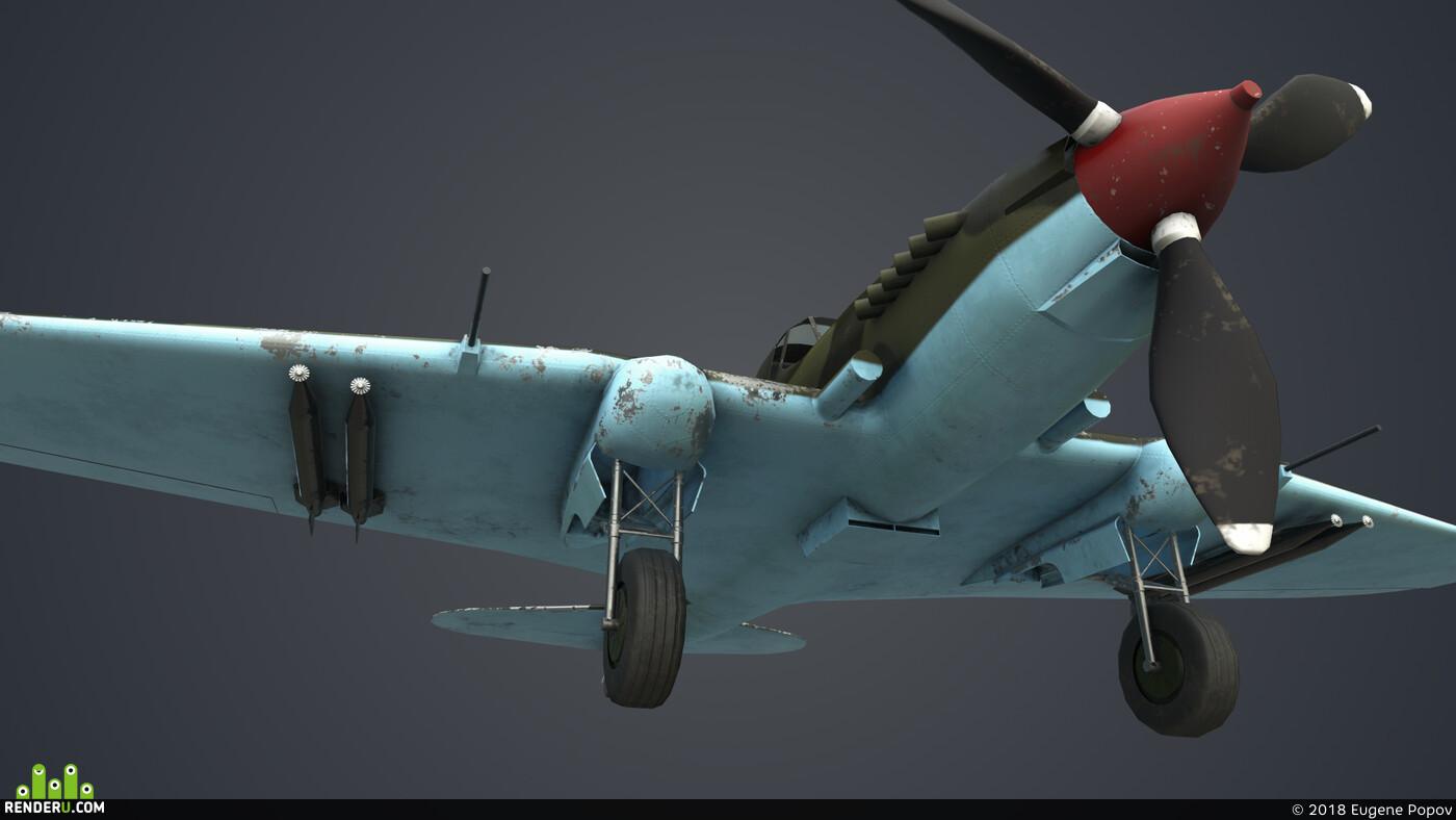 3d, ил-2, Game-ready, War, Maya, Autodesk Maya 2019